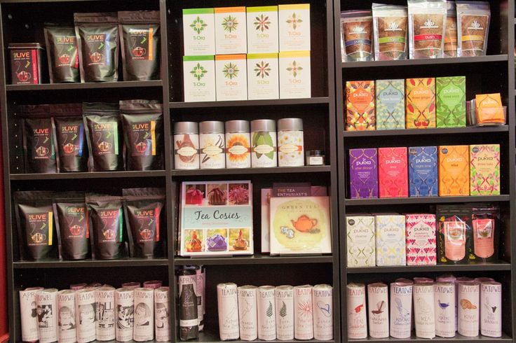 Our shelves are stocked with not only teas but tea towels, aprons and tea cosy books too