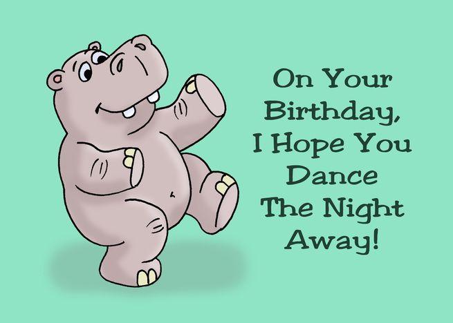 Birthday Card With Cartoon Hippo Dancing Dance The Night Away Card Ad Affiliate Cartoon Hippo Birthda Old Birthday Cards Cartoon Hippo Birthday Cards