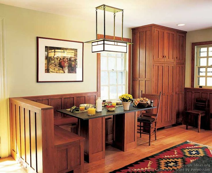 Arts U0026 Crafts Kitchen With Built In Bench From Crown Point Cabinetry Part 47