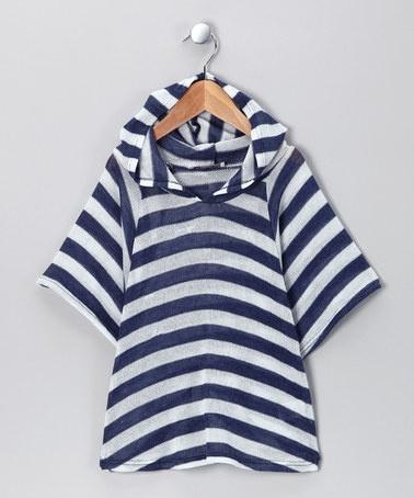 Navy & White Stripe Top