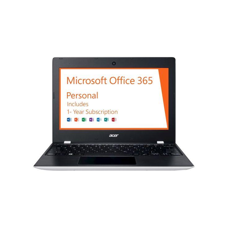Acer Aspire One 11, 11.6 HD, Intel Celeron N3060, 2GB Ram, 32GB, Windows 10, Office 365 Personal - 1 year (AO1-132-C3T3), White