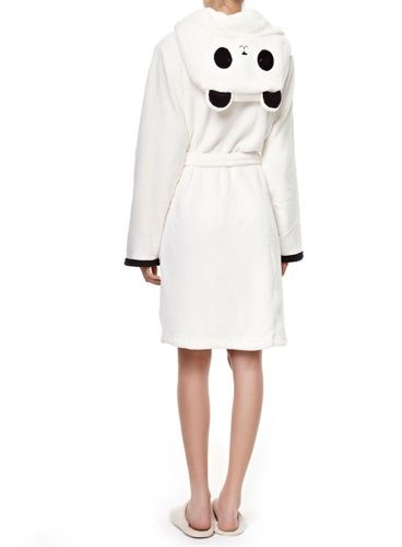 Photo Robe de chambre blanche avec capuche panda, Oysho - Le top 100 cocooning à la maison - Lifestyle - Be.com