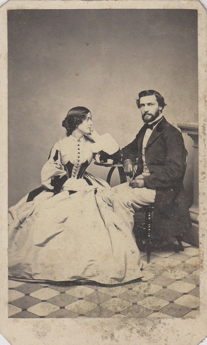 CDV Carte de Visite Civil War Era Husband Wife Fancy Hoop Dress ID'D George and Emma Merrill   eBay