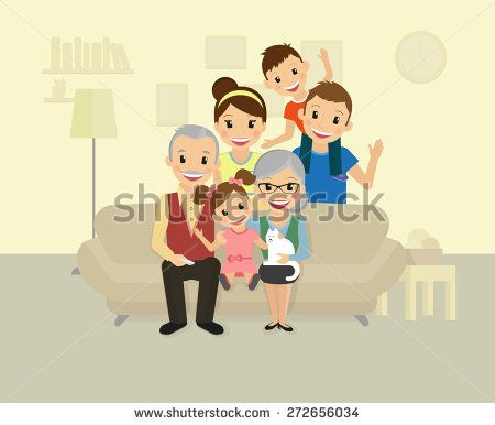 Happy family. Smiling dad, mom, grandparents and two kids sitting at home