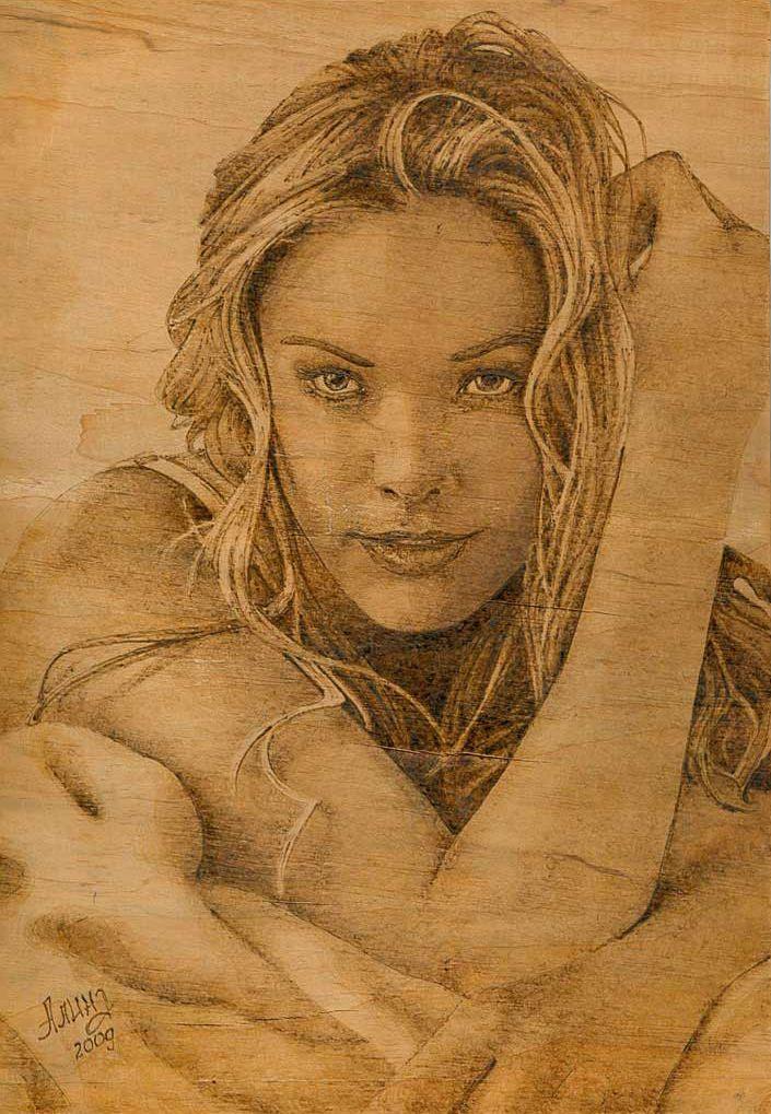 Girl portrait - Pyrography by Alina-207.deviantart.com on @DeviantArt