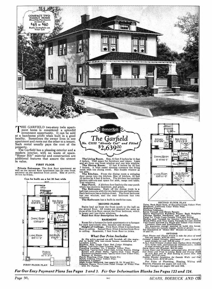 sears house the garfield model no p3232 2 599 to 2 758 house plans pinterest. Black Bedroom Furniture Sets. Home Design Ideas