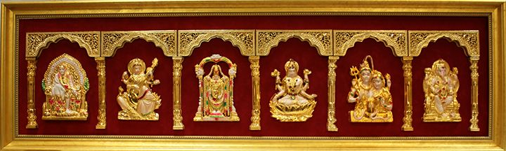 Indian gods in gold set in Custom Frame Shadowbox.  Custom design by Art and Frame Express in Edison New Jersey.