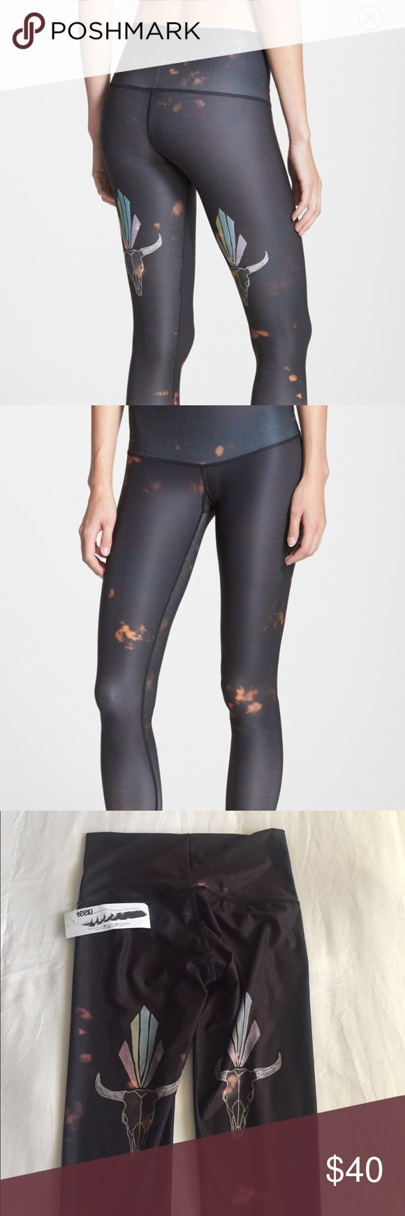 """Teeki buffalo princess hot pant legging size XS Moody tie dye patterns eco-conscious yoga leggings made in part from recycled plastic bottles. An ultra-wide, elastic-free waistband and chafe-resistant flatlock seams offer a smooth, comfortable fit. 26"""" inseam  Four-way-stretch fabric offers maximum stretch for a wide range of motion. Moisture-wicking fabric dries quickly to keep you cool and comfortable. Antibacterial treatment to fight odor. 79% PET (polyethylene terephthalate) from…"""