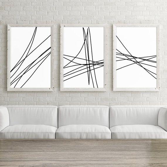 Lot de 3 grand Art imprimable, impression d'Art mur, minimaliste affiche 24 x 36, Résumé Line Art, impression noir et blanc, téléchargement numérique Art – Laetitia Zanchi