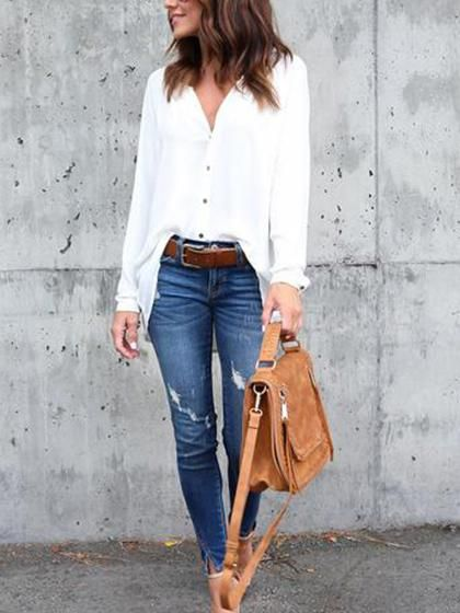 2018 FASHION TRENDS! CHICNICO has on trend items @ great prices. #ad WHITE BUTTON UP TUCKED IN, DISTRESSED DENIM