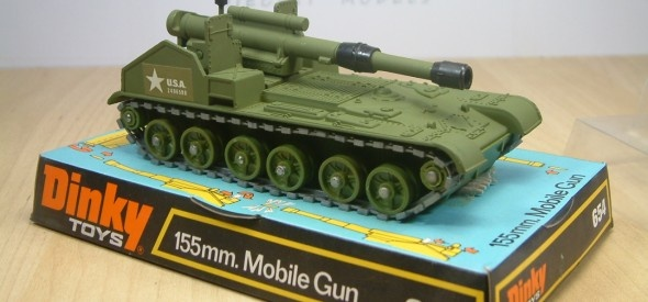 Dinky Toy 155mm American Army Mobile Artillery Gun. This diecast model was made between 1973 and 1980.
