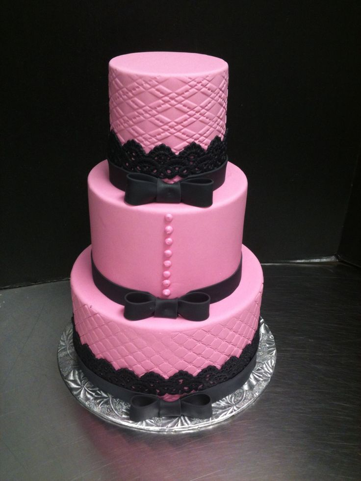 Pink And Black Lace Cake My Cakes Pinterest Pink