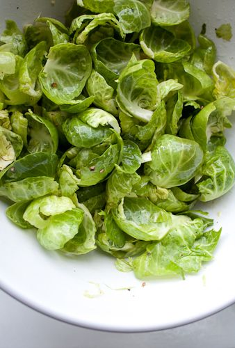 Brussels Sprout leaves tossed in olive oil, lemon, salt and pepper