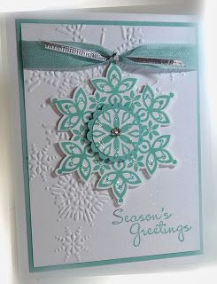 Stamps: Festive Flurry Merry More Messages Paper: Pool Party, Whisper White Ink: Pool Party Accessories: seam binding ribbon, silver ribb...