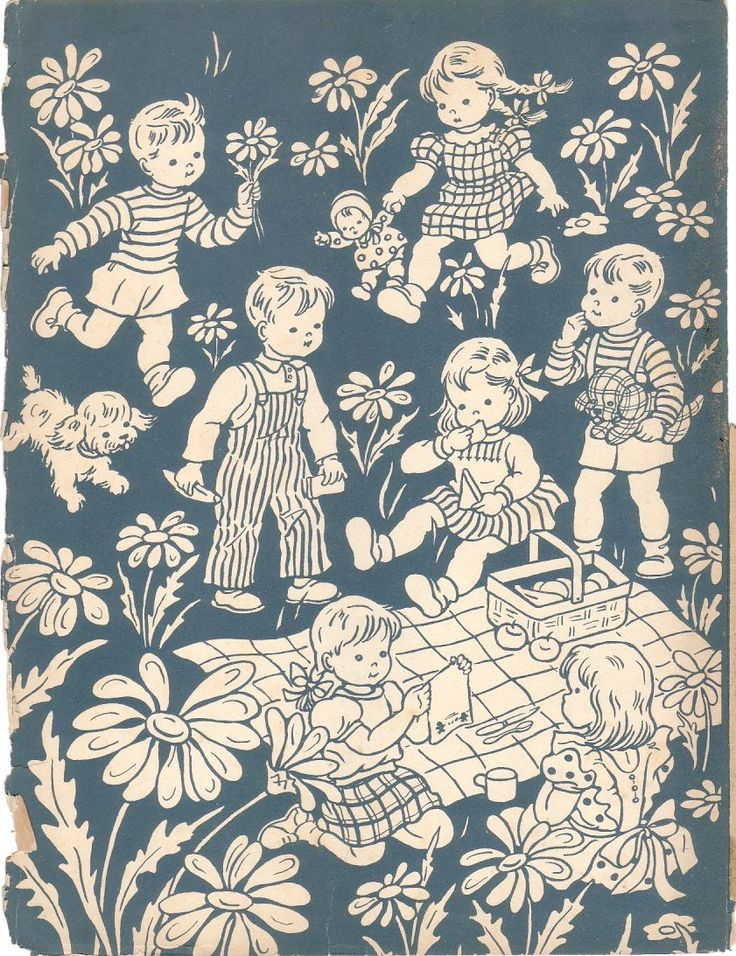 1930 Children Having A PICNIC Illustration. $8.00, via Etsy.