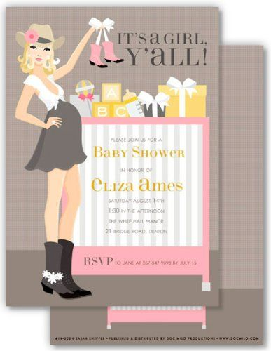 Little Cowgirl Baby Shower Invitation Wording: Itu0027s A A Girl ...