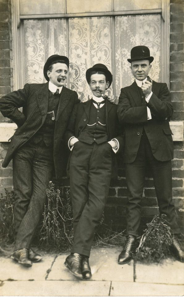 """From the book """"Menswear - Vintage People on Photo Postcards."""" Three dapper gents…"""