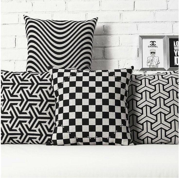 Barato Ikea Nordic listras pretas geométrica de linho de algodão capa de almofada fronha fronhas escritório em decorar almofadas do sofá, Compro Qualidade Almofadas diretamente de fornecedores da China:          Bem-vindo à minha loja. Have um bom dia.                 Todas as capas de almofadas são costuradas profi