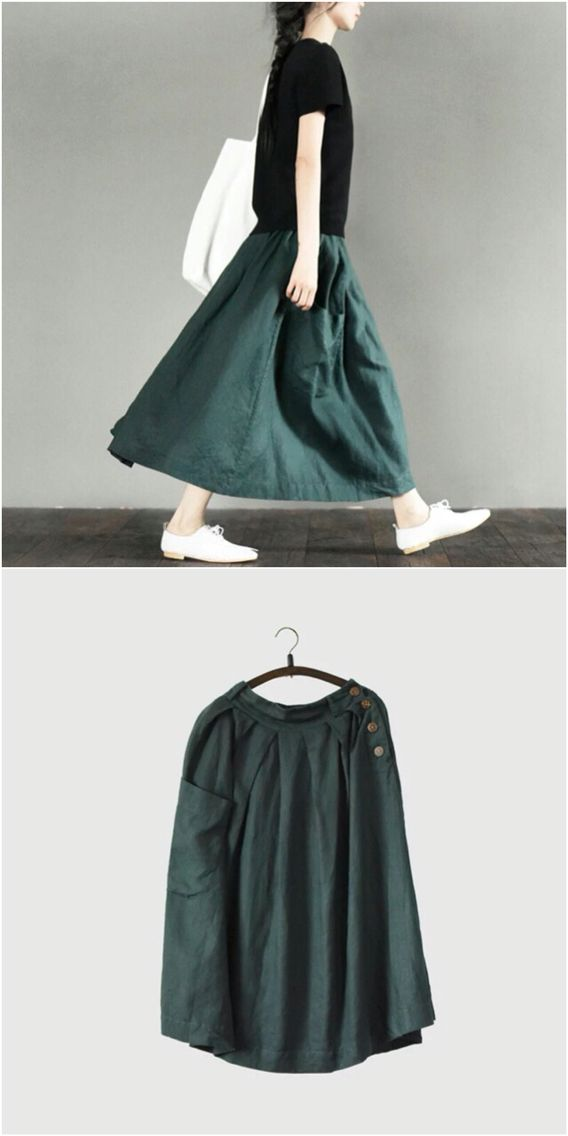 Green cotton linen skirt women clothes
