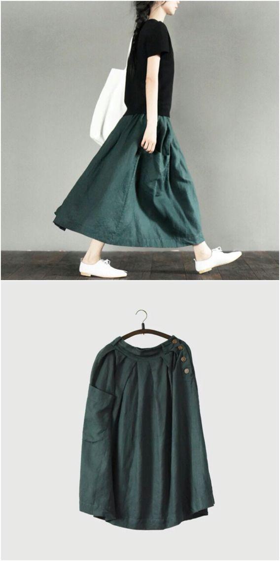 Green cotton linen skirt women clothes