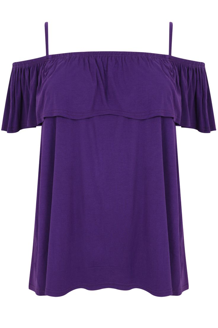 Purple Bardot Top With Shoudler Staps & Frill Detail