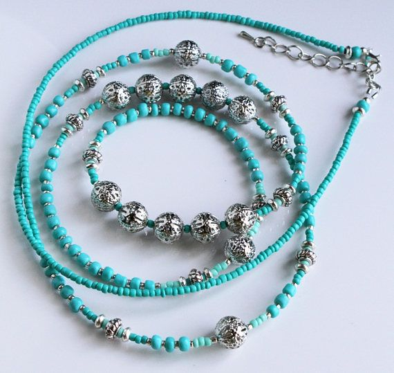 Long Turquoise Necklace Turquoise Statement Necklace
