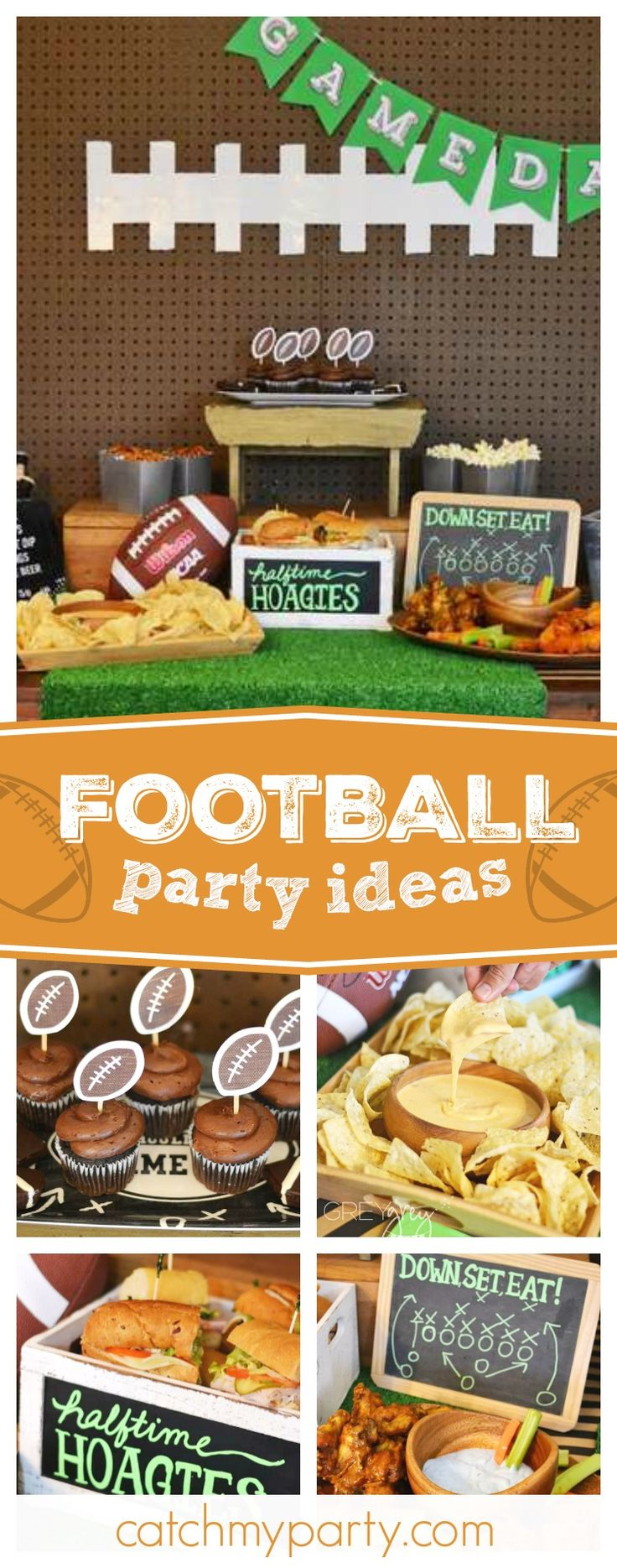 Get ready for the big game with this awesome football themed party! The cupcakes are fantastic!! See more party ideas and share yours at CatchMYparty.com #football #superbowl #sport #gamenight