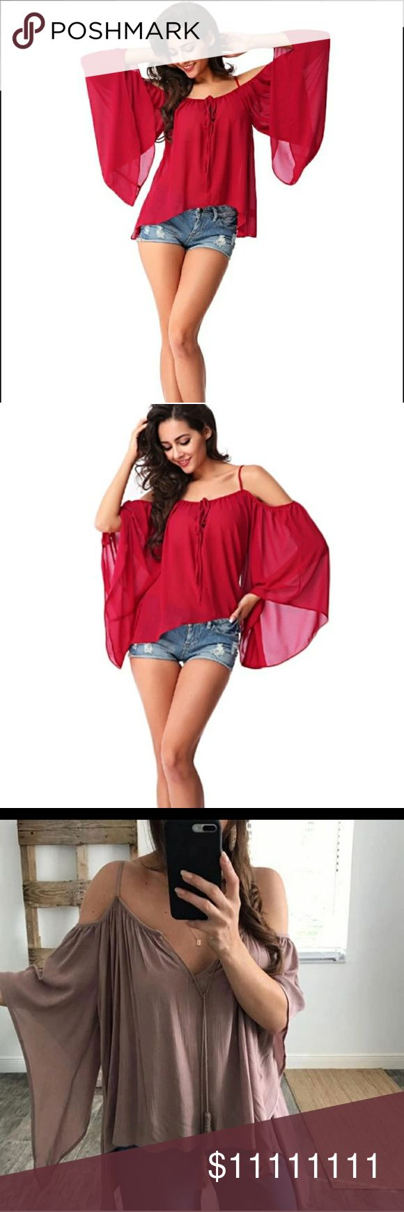 Coming SOON* Like status darling off shoulder top Darling off shoulder flowy semi see through loose summer tops. Oversized . Coming soon! Like post to be notified! Tops Blouses