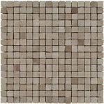 Getrommeld mini mozaïek bij de 51-NT beton look serie. Prachtig voor bijvoorbeeld een toilet achterwand of als accent in de douche. Op matjes van 30x30 cm. Tegelhuys