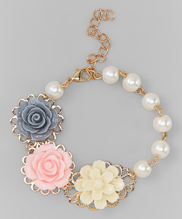 Love this Charlotte Rose Couture Pink & Gray Flower Cabochon Bracelet by Charlotte Rose Couture on #zulily! #zulilyfinds