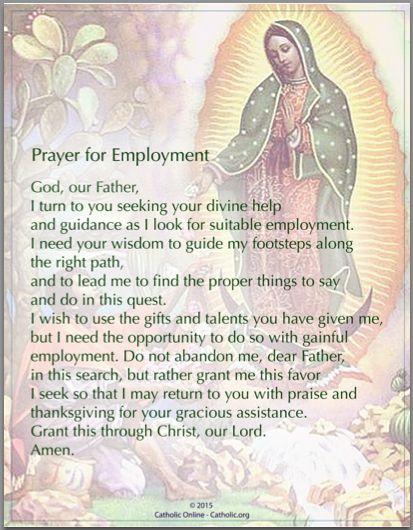 Prayers - Prayer for Employment by Catholic Shopping .com | FREE Digital Download PDF