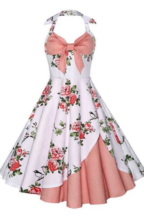 $15.54 Halter Floral Vintage Dress