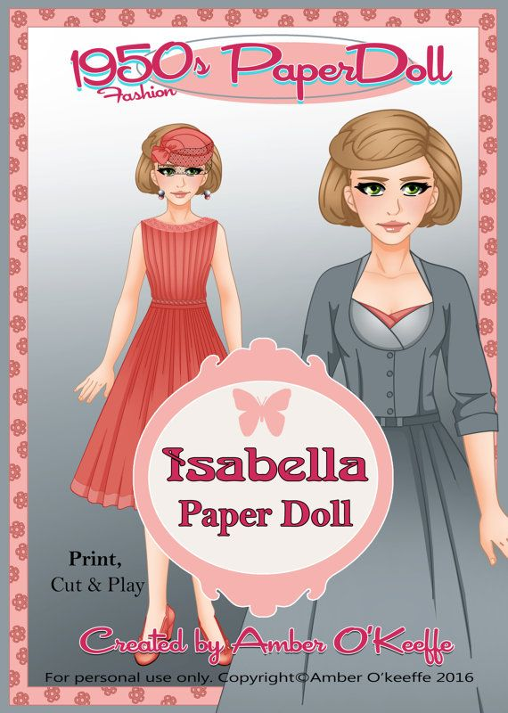 1950s Isabella Paper Doll Collection 2 by OkeeArts on Etsy