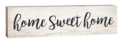 Home Sweet Home Script Design White Wash 2 x 6 Inch Solid Pine Wood Paul Bunyan Toothpick Sign