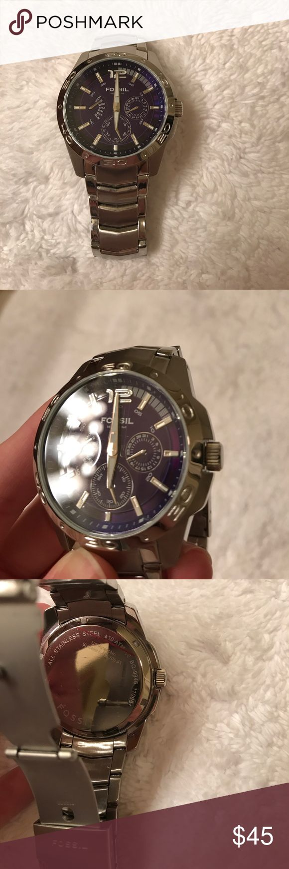 Men's fossil watch. Men's silver and blue face fossil watch. Battery does not work, really good condition with little to no wear at all. No additional links. No trades. Fossil Accessories Watches