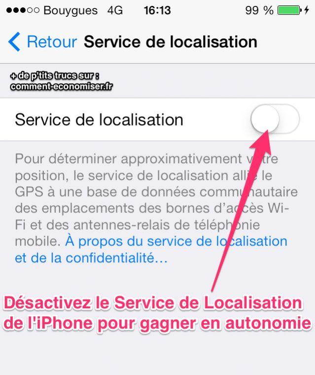 L'iPhone a tellement de fonctionnalités que l'on oublie facilement de désactiver le service de localisation lorsque l'on ne s'en sert pas. Erreur !  Découvrez l'astuce ici : http://www.comment-economiser.fr/batterie-iphone-desactiver-service-de-localisation.html?utm_content=buffer200b4&utm_medium=social&utm_source=pinterest.com&utm_campaign=buffer