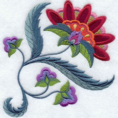 Machine embroidered quilts | JACOBEAN FLOWER 6 - MACHINE EMBROIDERED QUILT BLOCKS AZEB ...