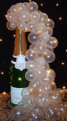 Champagne balloon bubbles 50th pinterest champagne for Champagne balloon wall
