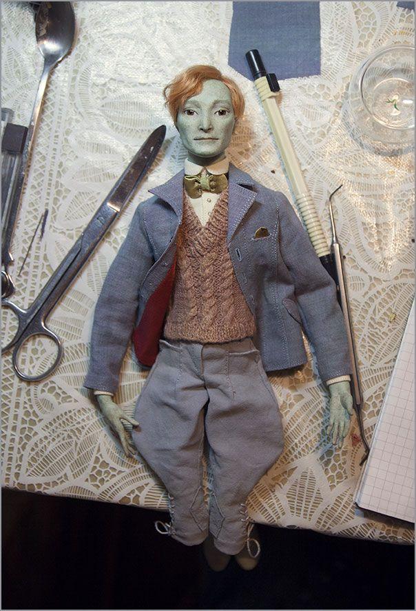 Полу шарнирная кукла из папье-маше. Автор - Шабурова Ксения.