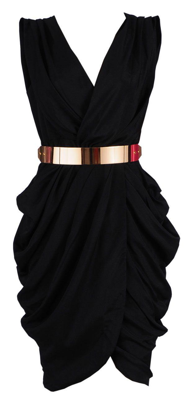 Clothing :: Dresses :: Glamour Dresses :: 'Monroe' Black Chiffon Wrap Dress - Celeb Boutique - Celebrity Style At High Street Prices| Bodycon Dresses | Bandage Dresses | Party Dresses. How Cute!!