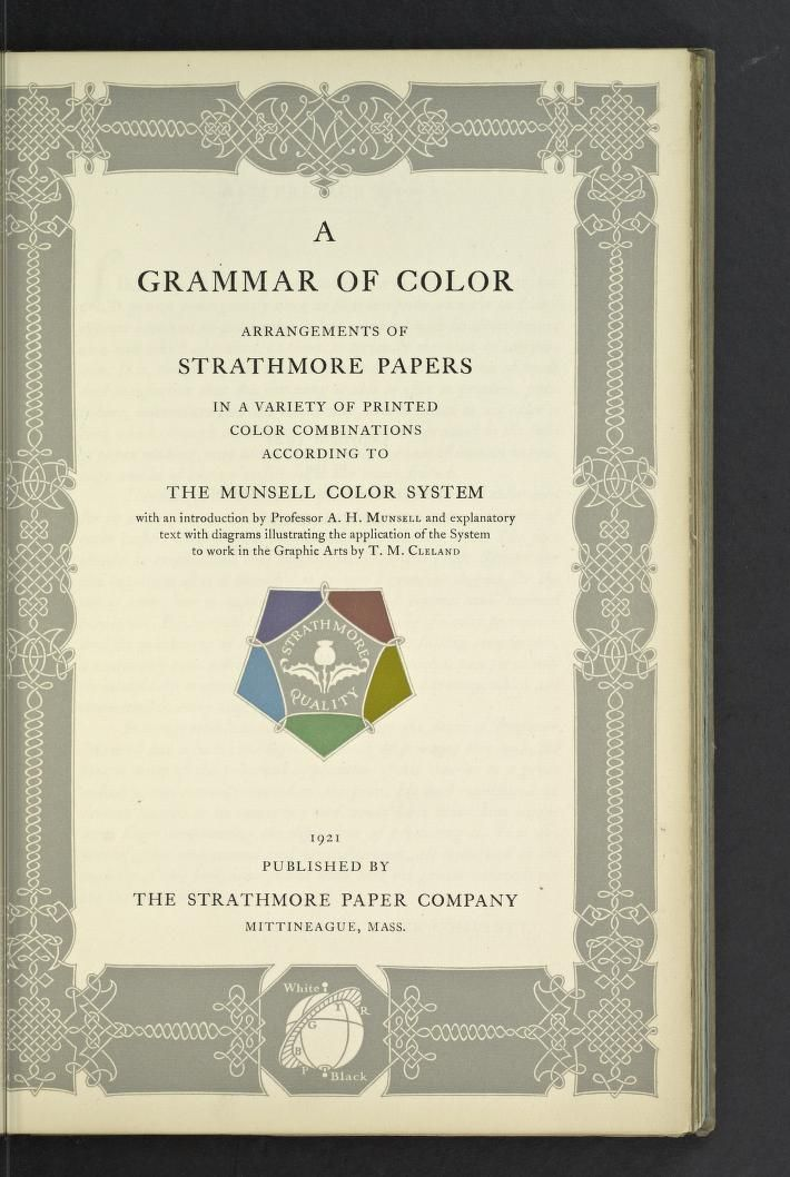munsell a grammar of color arrangements of strathmore papers in a variety of munsell color systemcolor theorybooks - Books On Color Theory