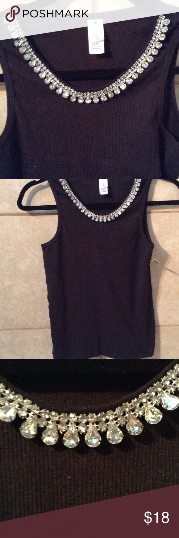 (NWT) VALENTINES Chrystal rhinestone wife beater 💯 cotton wife beater with rhinestone neckline.   Pretty for parties, dress up jeans or Valentines Day perfection! Tops