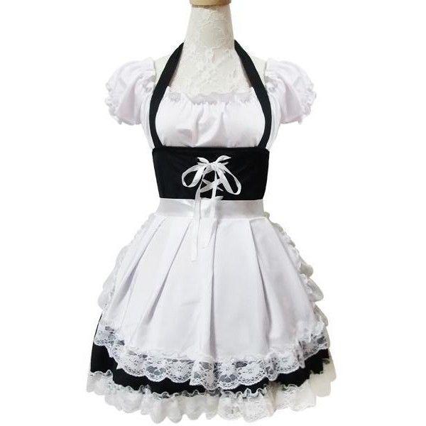 French Maid Dress Costume MD021 ($63) via Polyvore featuring costumes, french maid halloween costume, french maid costume, sexy maid halloween costume and sexy maid costume