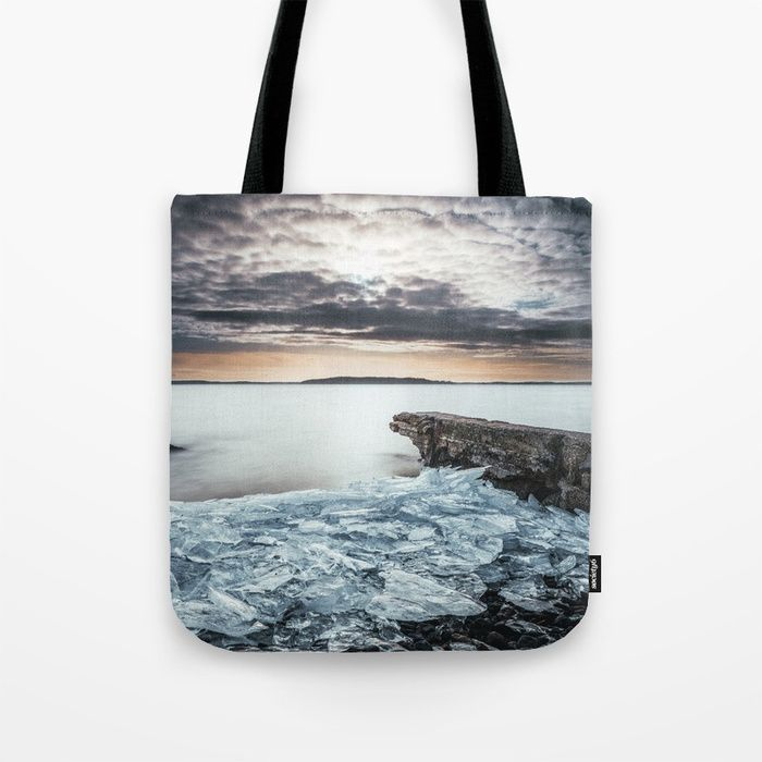 Frozen broken hearts Tote Bag by HappyMelvin  #nature #wanderlust #winter #ice #bags #totebags