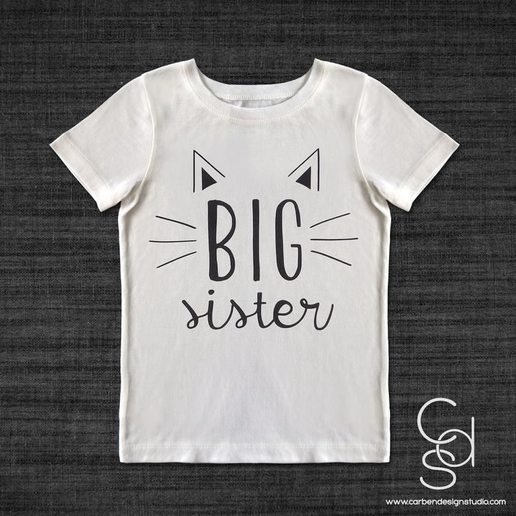 Here Kitty Kitty Big Sister Toddler T-shirt with Vinyl Heat Transfer – Carben Design Studio