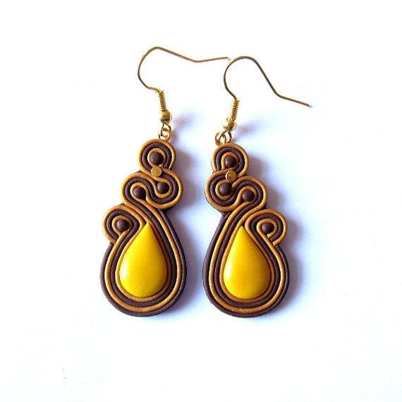 Polymer Clay Earrings Amber Gold Brown Jewelry por omifimo en Etsy
