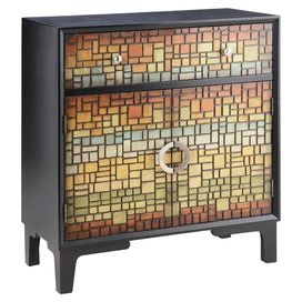 Whether youre steps from the sea or spending the season in the suburbs, this irresistible selection gets your home stylish and summer-ready.Product: Cabinet Construction Material: Wood and tileColor: Multi Features: Hand-painted colorful faux mosaic tiles  One drawer  Two doors  Whimsical style   Dimensions: 36.25 H x 32.13 W x 15.5 D