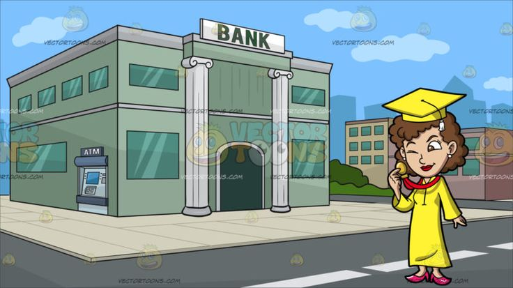 A Woman Checking Her Graduation Medal Award At Outside A Bank :  A woman with curly brown hair wearing a yellow graduation cap with white tassel yellow toga and pink heels pearl earrings closes her right eye to wink at the gold medal in her right hand. Set in a bank building with green walls corinthian style column with a bank label written in bold green lettering green glass windows and an atm machine on the side a cream colored tile flooring around the building gray road and several low…