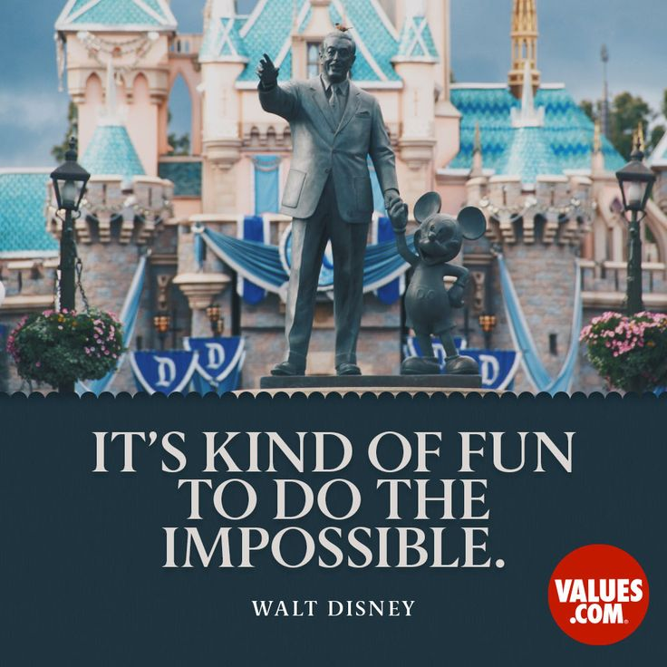 """""""It's kind of fun to do the impossible."""" —Walt Disney  Try something new and exciting. Get creative! #optimism #passiton www.values.com"""