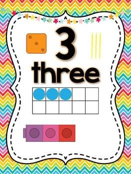 Rainbow Chevron Number 0-20 Posters & Banner {ten frame, dice, tally & cubes}